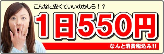 1日550円!なんと消費税込み!